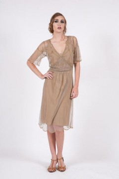 168 Nataya Silver/Bronze Art Deco Tulle Dress