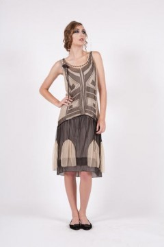 153 Nataya Flapper Tulle Black/Beige Dress