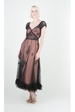 Nataya 40193 Ballerina Party Dress in Black/Rose