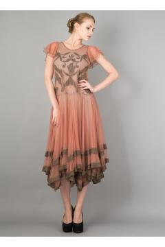 Downton Abbey Tea Dress 40205 in Rose/Silver by Nataya - SOLD OUT