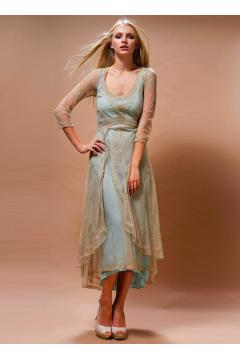 Downton Abbey Tea Party Dress in Sage-Turquoise by Nataya
