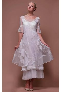 Tiered Titanic Vintage Inspired Dress in Ivory by Nataya