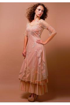 Tiered Titanic Vintage Inspired Dress in Pink/Champagne by Nataya