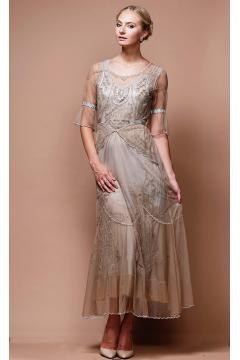 Edwardian Vintage Wedding Dress in Sand/Silver by Nataya