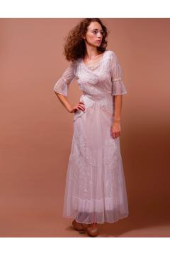 Edwardian Vintage Wedding Dress in Ivory/Blush by Nataya