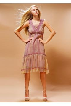 Nataya 220 Bohemian Vintage Inspired Party Dress in Rose Beige