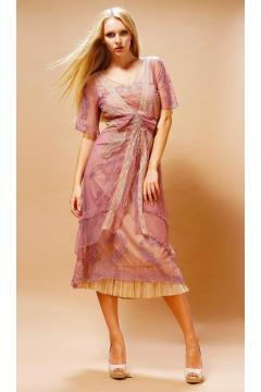 Embroidered Layered Summer Dress in Rose Butter by Nataya