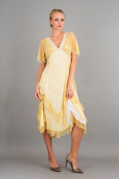 Nataya 40241 Vintage Style Party Dress in Lemon