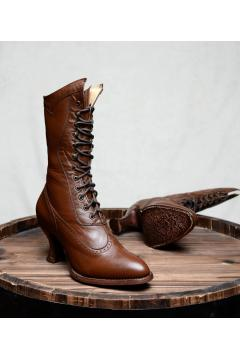 Victorian Inspired Boots in Cognac