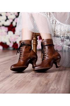 Victorian Inspired Ankle Boots in Tan Rustic