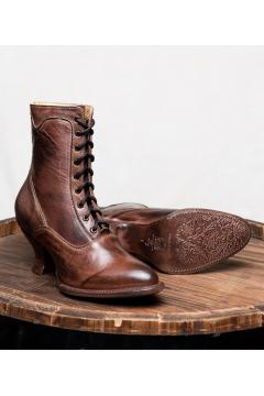Victorian Inspired Ankle Boots in Teak Rustic