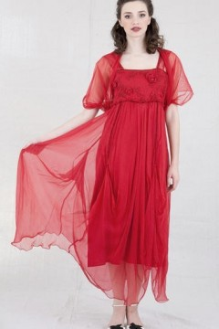 1920s Red Fiery Cocktail Gown