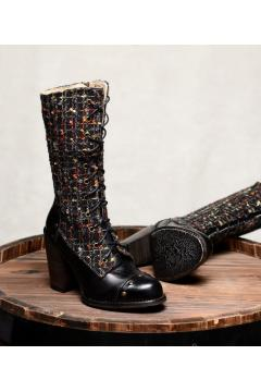 Vintage Style Leather Boots in Black Rustic