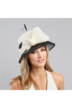 1920s Loopy Sinamay Hat in Black White