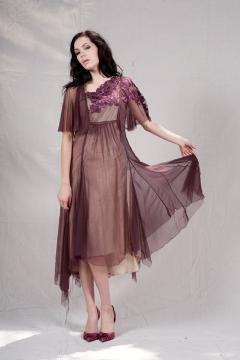 Flutter Sleeve Evening Gown