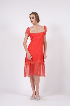 157 Nataya Coral Edwardian Party Dress